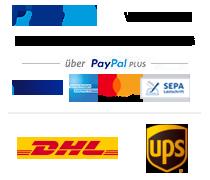 Zahlungs- und Versandanbieter Logos